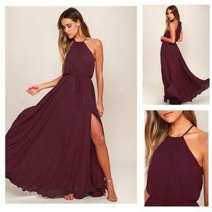 Lulus Essence of Style Plum Maxi Halter Slit Dress